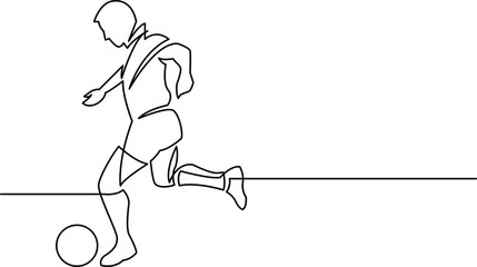 continuous line drawing of soccer player running