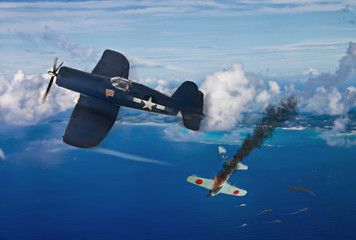 World War 2 dogfight over the pacific Island of Saipan. (Computer art, oil style illustrations)