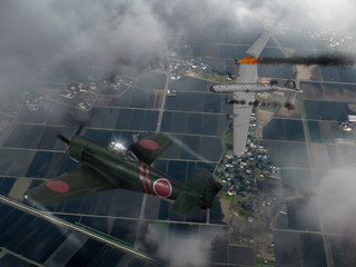 An illustration of a Japanese raiden fighter plane shooting down a US B-29 bomber over Japan in World War 2. (Computer art, oil style illustration)