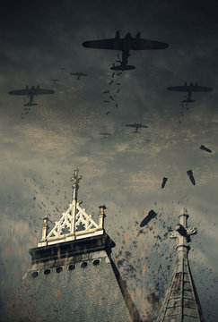 An illustration of World War 2 german bombers dropping their bombs over England. (Computer art, oil style illustration)