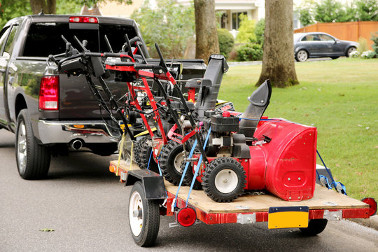 Snowblowers on a trailer