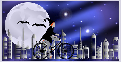 Vector illustration Cards for Halloween. Witch riding a bicycle, followed by flying bats flying over the city on a moonlit night.