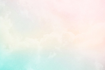soft cloud and sky with pastel gradient color and grunge paper texture, abstract nature background