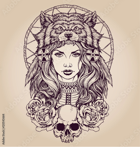 82221eba2 Native American girl with Wolf headdress
