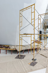 scaffolding in construction. Building interior background