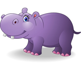 Cartoon smiling hippo