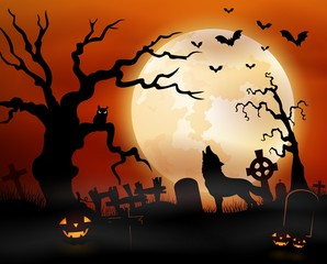 Halloween night background with wolf howling, pumpkins, owl on tree and full moon