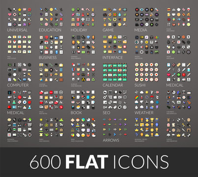 Large icons set, 600 vector pictogram of flat colored with shadows