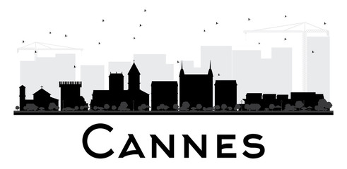 Cannes City skyline black and white silhouette.