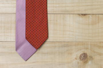 Necktie on wood background, Father's day concept idea background