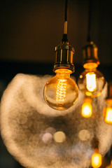 beautiful lighting decor bulb Industrial vintage style with blur bokeh background.