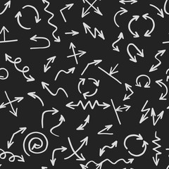 Seamless pattern backgrouns arrows. Blackboard vector. Set of cursor.