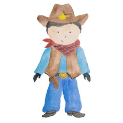 Cowboy Theme Initation  Watercolor Isolated on the white Baby Boy Texas