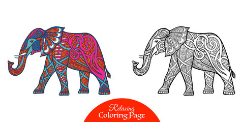 Decorative patterned elephant. Adult coloring page