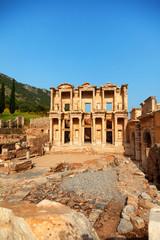 Library of Celsus in Ephesus, Turkey. Vertical shot