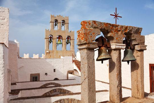Church and bells on Patmos island, Greece. Horizontal shot