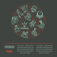 Modern card with voodoo magic vector line icons.