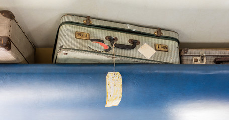 Old suitcase for cabin baggage - Selective focus