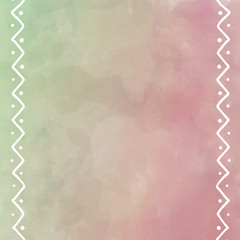 digital watercolor painting in pastel pink and green with white border design of zig zag lines and dots