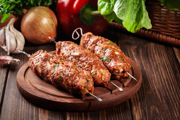 Raw traditional sish kebab