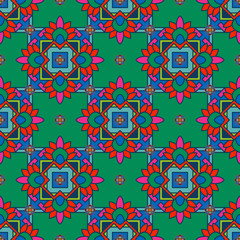 Seamless pattern in tibet style with tibet mandalas