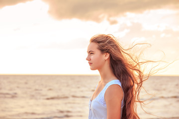 Girl on the seashore.
