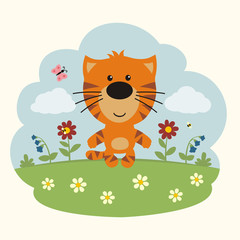 Cartoon tiger. Funny little tiger on flower field.