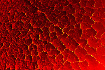 The texture of molten lava