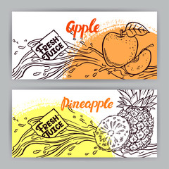 banners of sketch apple and pineapple juice