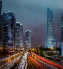 Fotomurales - road in Shanghai lujiazui financial center
