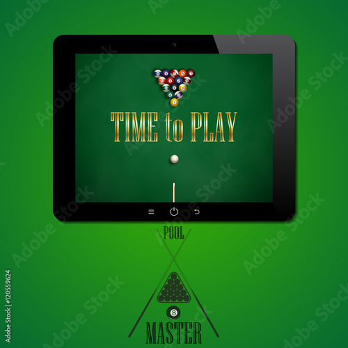 The tablet on a green background  The application for the