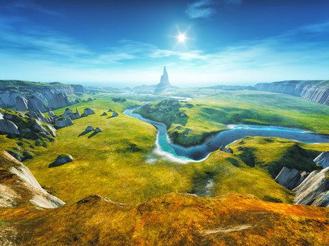 a colorful fantasy landscape