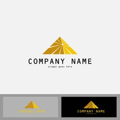 Gold Pyramid, Triangle abstract icon, symbol, logo, Vector.