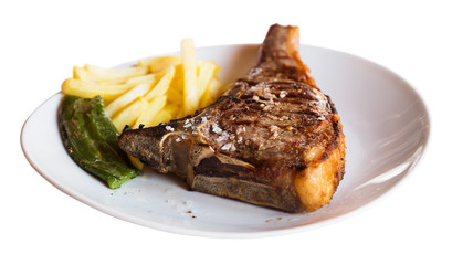 Roasted entrecote served with potato on plate