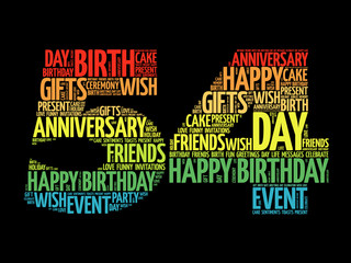 Happy 54th birthday word cloud collage concept