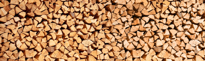 Stack of wood logs, Header wooden abstract background