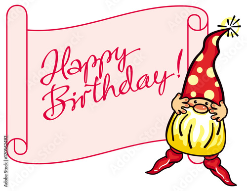 Paper scroll with artistic written sign happy birthday and cute paper scroll with artistic written sign happy birthday and cute gnome in red bookmarktalkfo Image collections