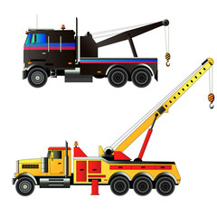 Tow trucks set. Vector illustration, isolated
