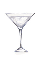 Watercolor martini glass. Beautiful and elegant glass with alcoholic beverage. Art for menu decoration.