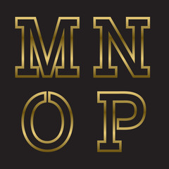 M, N, O, P gold stamped letters. Trendy and stylish golden font.
