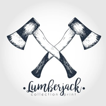 Vector hand drawn logo of two crossed axes. Lumberjack print collection. Vintage engraved art.