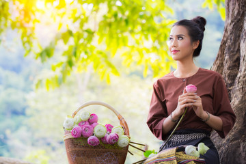 Asia women and lotus flower