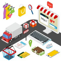 Mobile shopping isometric concept with related elements on white background vector illustration