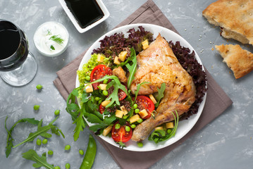 Baked chicken with a salad