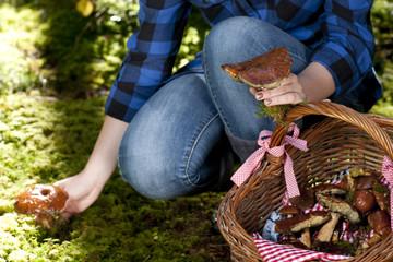 Junge Frau findet essbare Pilze im mWald