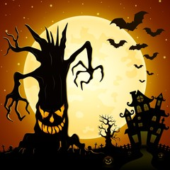 Halloween background. Scary monsters trees on cemetery with castle and full moon