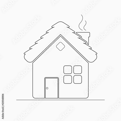 Village house outline icon Rural or country home sign Childrens