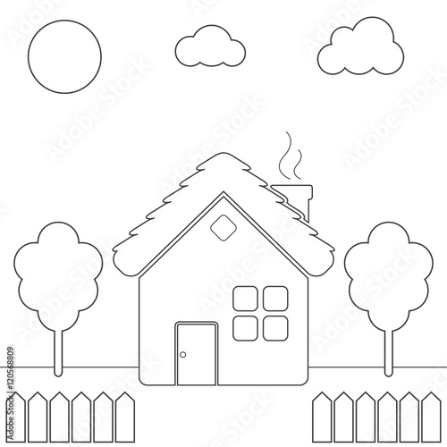Children\'s coloring page with country house, yard, fence, tree, sky ...