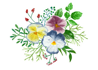 Bouquet of flowers and leaves, floral watercolor painting on isolate backgrounds.