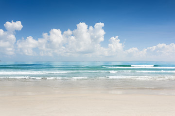 Scenic blue ocean and tropical white sand beach